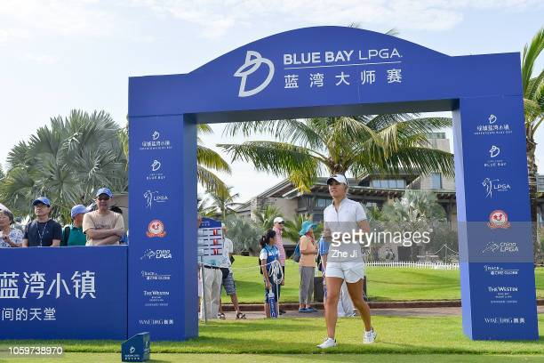 Danielle Kang of United States walks to play a shot on the 1st hole during the final round of the Blue Bay LPGA on November 10 2018 in Hainan Island...