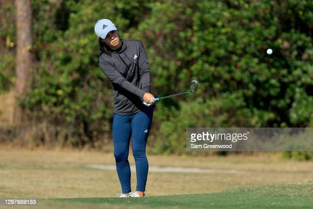 Danielle Kang plays a shot on the fourth hole during the first round of the Diamond Resorts Tournament Of Champions at Tranquilo Golf Course at the...