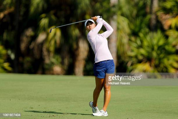 Danielle Kang plays her second shot on the seventh hole during the first round of the CME Group Tour Championship at Tiburon Golf Club on November 15...