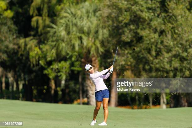 Danielle Kang plays her second shot on the sixth hole during the first round of the CME Group Tour Championship at Tiburon Golf Club on November 15...
