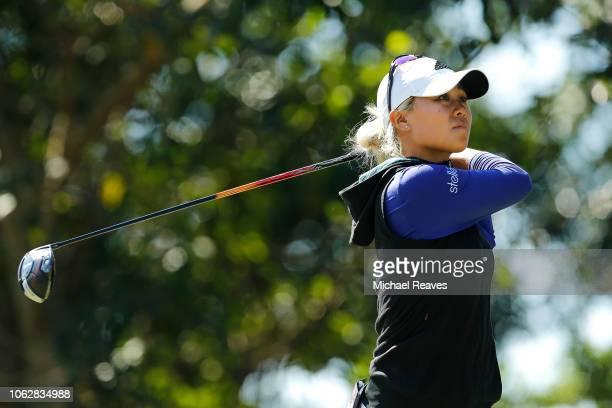 Danielle Kang plays her shot from the 11th tee during the third round of the LPGA CME Group Tour Championship at Tiburon Golf Club on November 17...