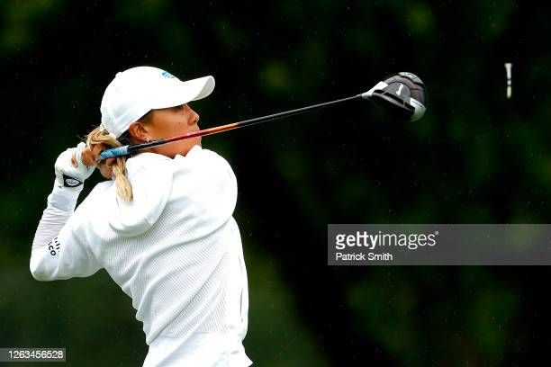 Danielle Kang plays her shot from the ninth tee during the final round of the LPGA Drive On Championship at Inverness Club on August 2 2020 in Toledo...