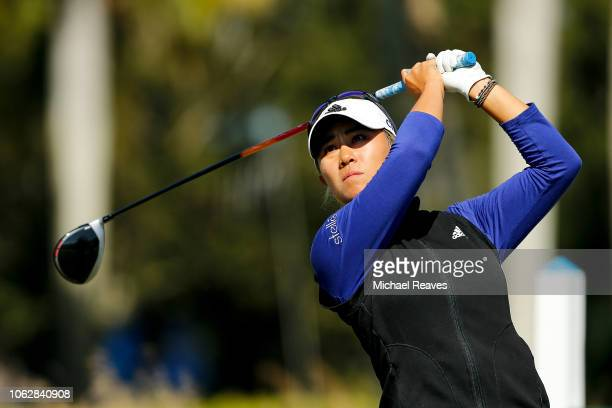 Danielle Kang plays her shot from the ninth tee during the third round of the LPGA CME Group Tour Championship at Tiburon Golf Club on November 17...