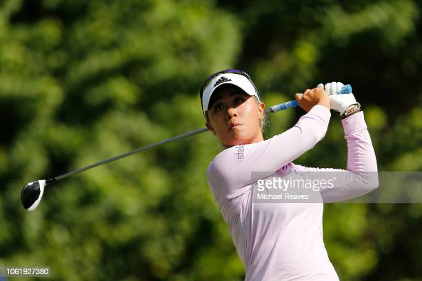 Danielle Kang plays her shot from the seventh tee during the first round of the CME Group Tour Championship at Tiburon Golf Club on November 15 2018...
