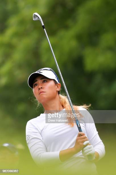 Danielle Kang plays her tee shot on the third hole during the second round of the Walmart NW Arkansas Championship Presented by PG at Pinnacle...