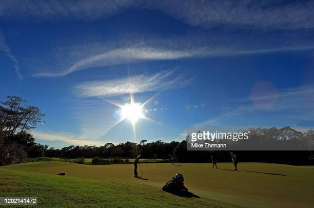 Danielle Kang putts on the 17th hole during the final round of the Gainbridge LPGA at Boca Rio on January 26 2020 in Boca Raton Florida