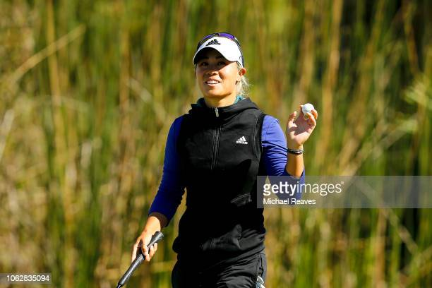 Danielle Kang reacts after a putt on the eighth green during the third round of the LPGA CME Group Tour Championship at Tiburon Golf Club on November...