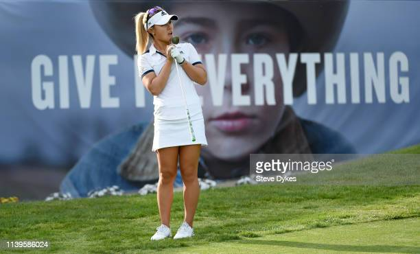 Danielle Kang reacts to her chip shot on the 18th green during the final round of the Kia Classic at the Aviara Golf Club on March 31 2019 in...