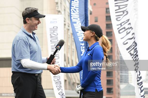 Danielle Kang speaks with Pat Boyle of NBC Sports Chicago at the KPMG Women's PGA Championship National Media Day in River Point Park on May 14 2018...