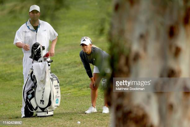 Danielle Kang surveys her options after hitting out of the second fairway during round 1 of the ANA Inspiration on the Dinah Shore course at Mission...