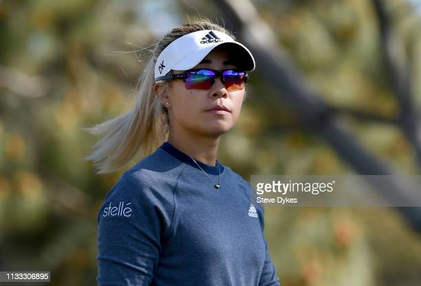 Danielle Kang walks off the tee box on the 16th hole during the first round of the Kia Classic at the Aviara Golf Club on March 28 2019 in Carlsbad...