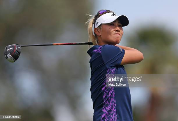 Danielle Kang watches her tee shot on the third hole during the third round of the ANA Inspiration on the Dinah Shore course at Mission Hills Country...