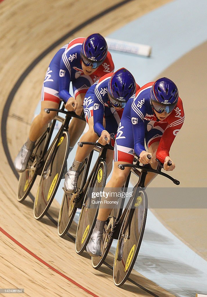 Danielle King, Laura Trott and Joanna Rowsell of Great Britain compete in the Women's Team Pursuit during day two of the 2012 UCI Track Cycling World Championships at Hisense Arena on April 5, 2012 in Melbourne, Australia.