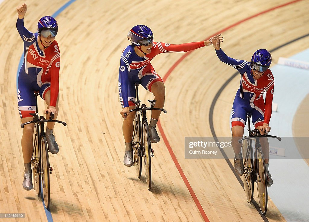 Danielle King, Laura Trott and Joanna Rowsell of Great Britain celebrate breaking the world record and winning the Women's Team Pursuit during day two of the 2012 UCI Track Cycling World Championships at Hisense Arena on April 5, 2012 in Melbourne, Australia.