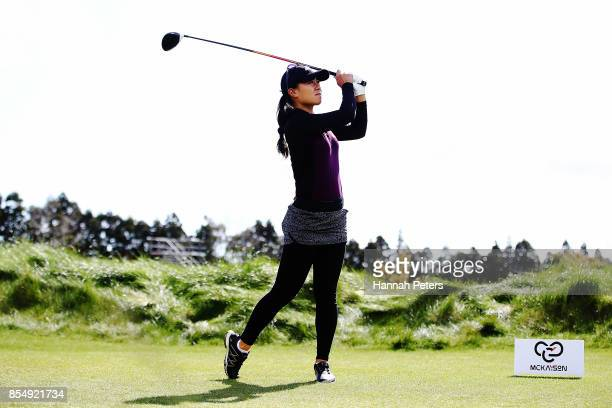 Danielle King of USA tees off during day one of the McKayson New Zealand Women's Open at Windross Farm on September 28 2017 in Auckland New Zealand