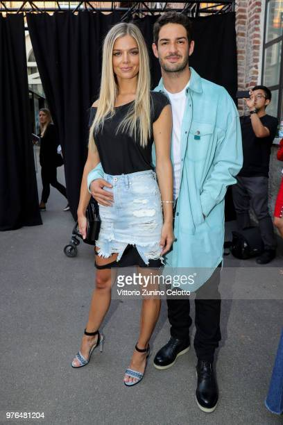 Danielle Knudson and Alexandre Pato attend Diesel Red Tag by Glenn Martens on June 16 2018 in Milan Italy