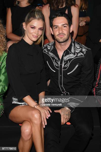 Danielle Knudson and Alexandre Pato attends Dsquared2 show during Milan Men's Fashion Spring/Summer 2019 on June 17 2018 in Milan Italy