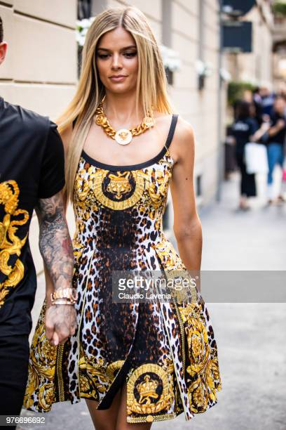 Danielle Knudson wearing Versace dress is seen in the streets of Milan before the Versace show during Milan Men's Fashion Week Spring/Summer 2019 on...