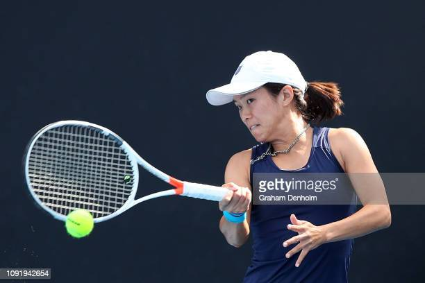 Danielle Lao of the United States plays a forehand in her shot against Caroline Dolehide of the United States during day three of Qualifying ahead of...