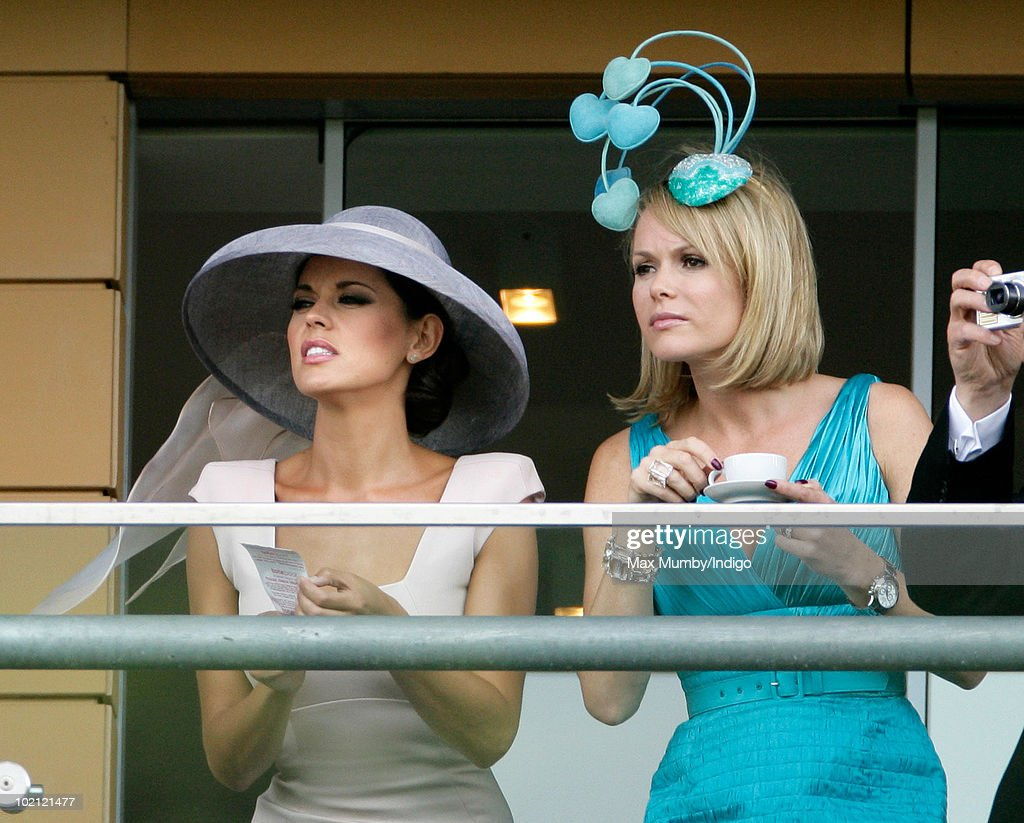 Danielle Lineker and Amanda Holden watch the horse racing from the balcony of their box on day one of Royal Ascot at Ascot Racecourse on June 15, 2010 in Ascot, England.