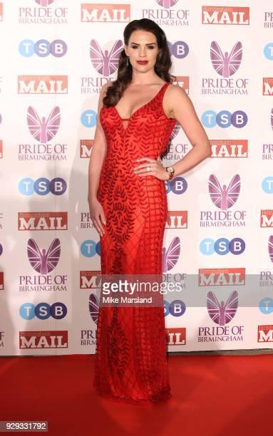 Danielle Lloyd arrives at the Pride Of Birmingham Awards 2018 at University of Birmingham on March 8 2018 in Birmingham England