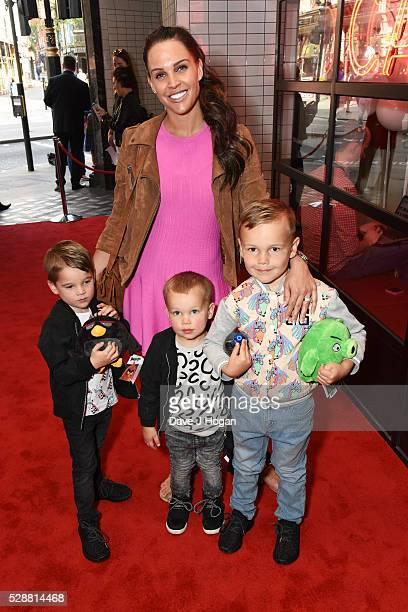 Danielle Lloyd with her sons Archie George and Harry attend the UK gala screening of Angry Birds at Picturehouse Central on May 7 2016 in London...