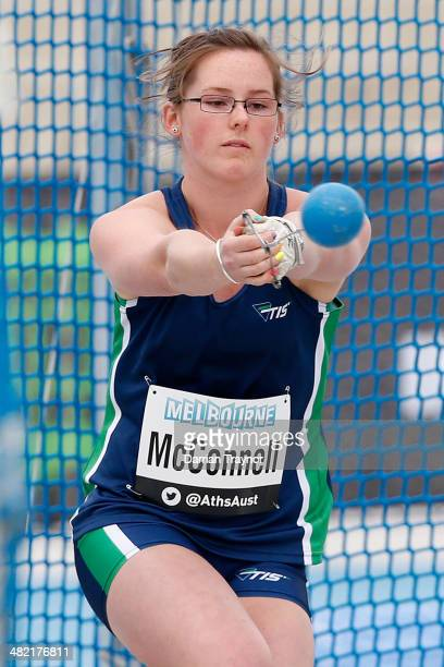 Danielle McConnell of Tasmania competes in the womens hammer throw during the 92nd Australian Athletics Championships at Olympic Park on April 3,...