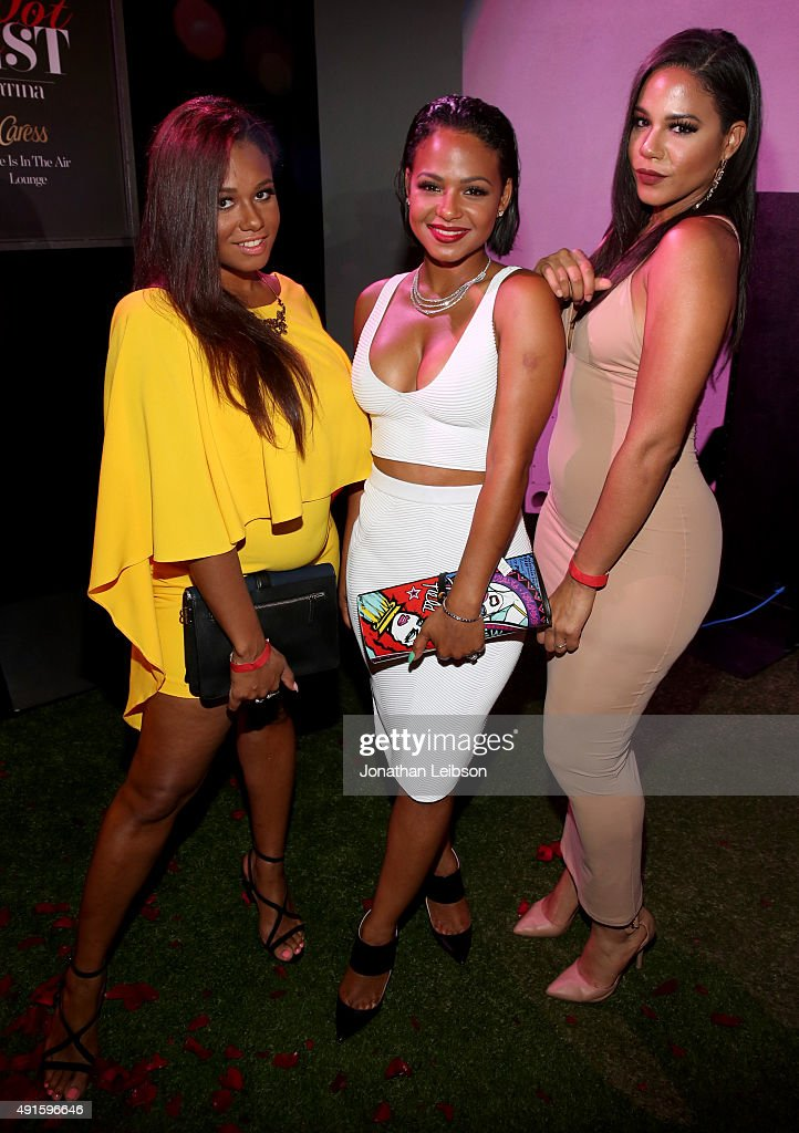 Danielle Milian, Christina Milian and Liz Milian attend the Latina 'Hot List' Party hosted by Latina Media Ventures at The London West Hollywood on October 6, 2015 in West Hollywood, California.