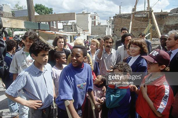 Danielle Mitterand First Lady of France and head of the France Liberty Foundation visiting the eighteenth and twentieth districts of Paris The...