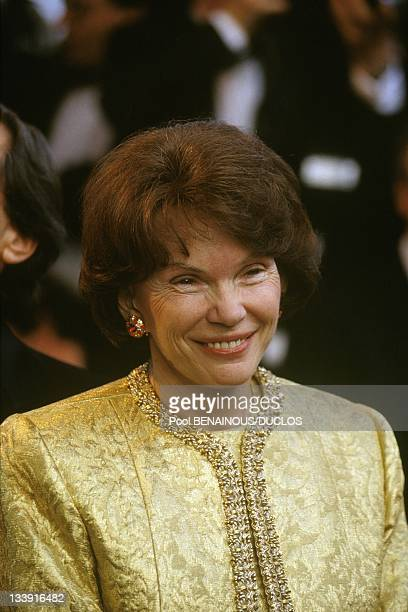 Danielle Mitterrand at the Cannes Film Festival opening ceremony on May 7 1992 in CannesFrance