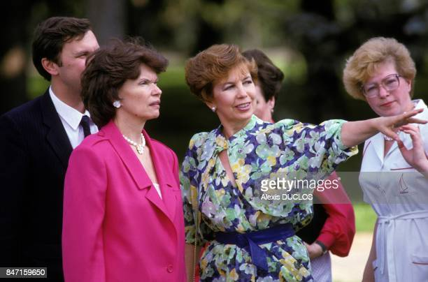 Danielle Mitterrand with Raisa Gorbachev in Moscow on May 7 1986 in Moscow Russia