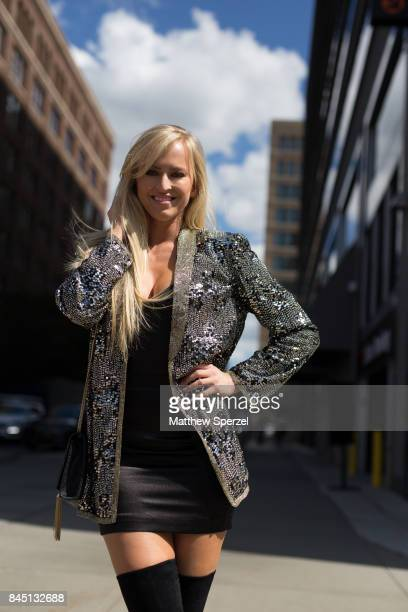 Danielle Moinet is seen attending Son Jung Wan during New York Fashion Week wearing Summer Ray Sherri Hill Vince Camutto on September 9 2017 in New...