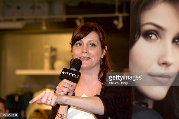 Danielle Monaro talks to fans waiting at the appearance of One Tree Hill cast members Sophia Bush and Danielle Zuniga at Macy's Herald Square on...