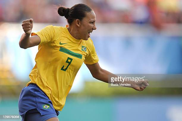 Danielle of Brazil celebrates a scored goal againist of Argentina during a match as part of XVI Pan American Games at Ominilife stadium on October...