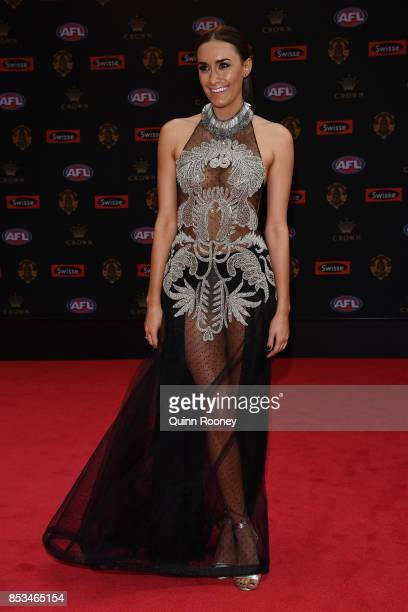 Danielle Orlando partner of Luke Shuey of the Eagles arrives ahead of the 2017 Brownlow Medal at Crown Entertainment Complex on September 25 2017 in...