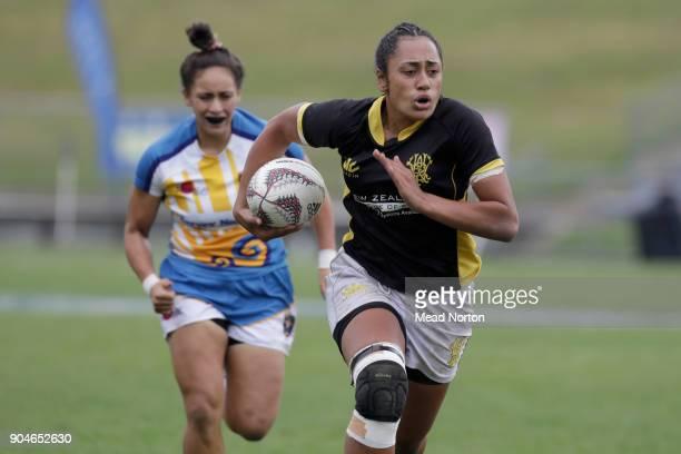 Danielle Paenga during the Bayleys National Sevens match between Wellington and Bay of Plenty at Rotorua International Stadium on January 14 2018 in...