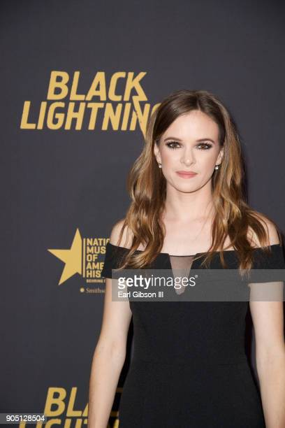 Danielle Panabaker attends the 'Black Lightning' World Premiere at National Museum Of African American History Culture on January 13 2018 in...