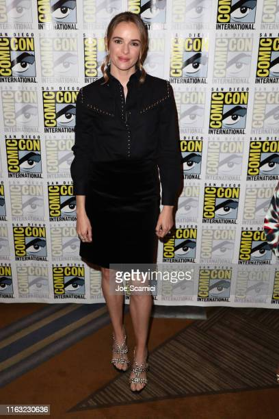 """Danielle Panabaker attends """"The Flash"""" press line during 2019 Comic-Con International on July 20, 2019 in San Diego, California."""