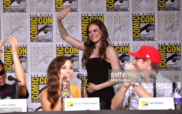 Danielle Panabaker speaks onstage at theThe Flash Special Video Presentation and QA during ComicCon International 2018 at San Diego Convention Center...