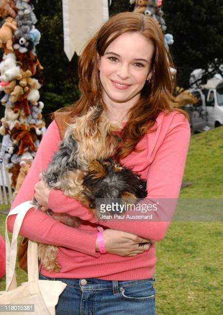 Danielle Panabaker with her dogs Peanut and Butter Photo by JeanPaul Aussenard/WireImage for Silver Spoon