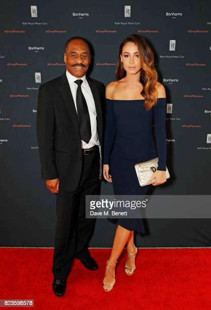 Danielle Peazer and father Jon Peazer attend the world premiere of the 'The Great Eight Phantoms A RollsRoyce Exhibition' at Bonhams on July 27 2017...