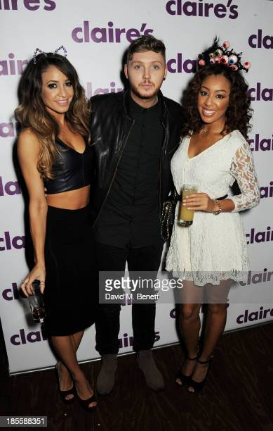 Danielle Peazer James Arthur and Zoe Purpuri attend Claire's Halloween Party featuring a secret performance by Union J at Sketch on October 22 2013...