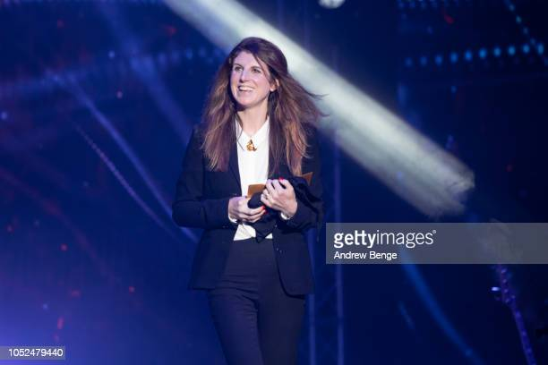 Danielle Perry presents and award at the Audio and Radio Industry Awards at First Direct Arena Leeds on October 18 2018 in Leeds England