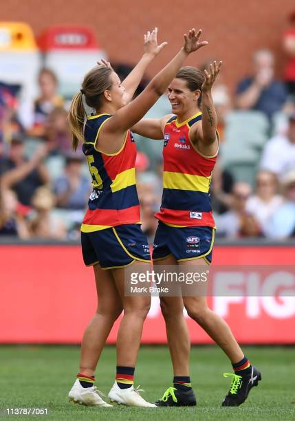 Danielle Ponter of the Adelaide Crows celebrates a goal with Chelsea Randall of the Adelaide Crows during the AFLW Preliminary Final match between...