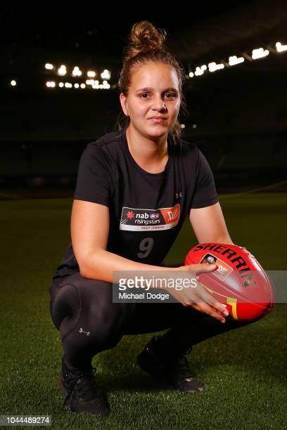 Danielle Ponter poses during the AFLW Draft Combine at Etihad Stadium on October 2 2018 in Melbourne Australia