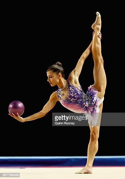 Danielle Prince of Queensland competes with the ball in the rhythmic gymnastics during the 2016 Australian Gymnastics Championships at Hisense Arena...
