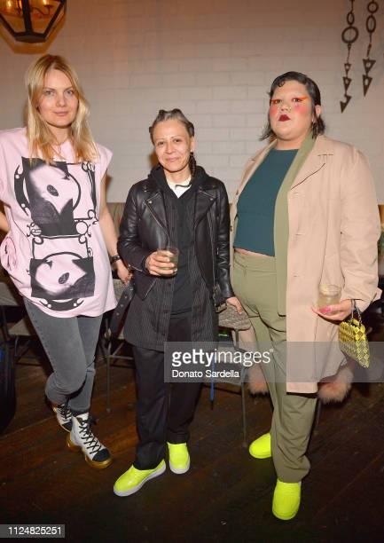 Danielle Radojcin Guadalupe Rosales and Gabriela Ruiz attend Liz Goldwyn and MATCHESFASHIONCOM celebrate the launch of Frieze LA at Gracias Madre on...