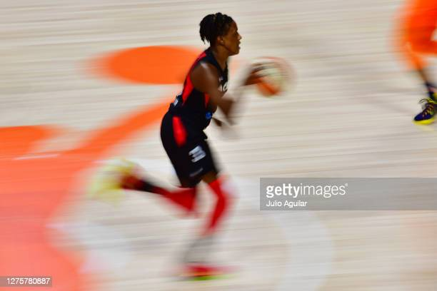 Danielle Robinson of the Las Vegas Aces dribbles during the first half of Game 2 of their Third Round playoffs against the Connecticut Sun at Feld...