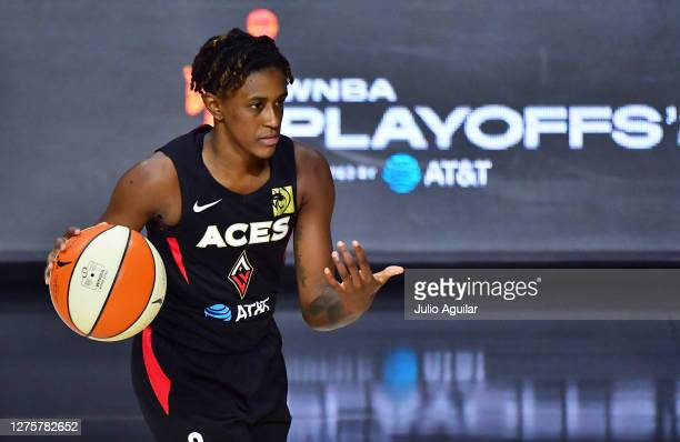 Danielle Robinson of the Las Vegas Aces gestures to a teammate during the second half of Game 2 of their Third Round playoffs against the Connecticut...