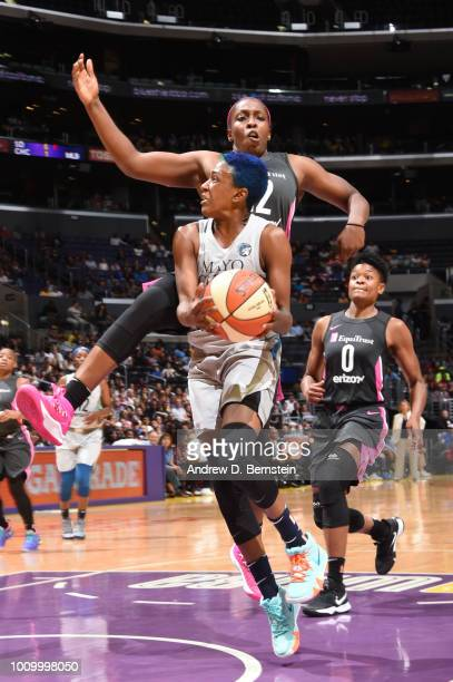 Danielle Robinson of the Minnesota Lynx goes to the basket against the Los Angeles Sparks on August 2 2018 at STAPLES Center in Los Angeles...